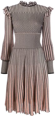 striped knitted dress - Black