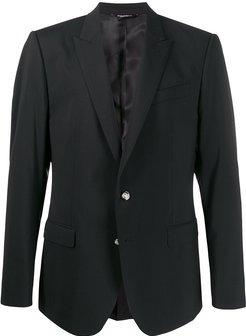 tailored button-front blazer - Black