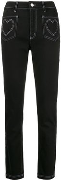 high rise heart embroidered jeans - Black
