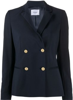 double-breasted fitted blazer - Blue