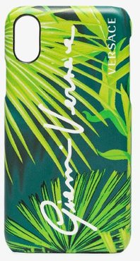 green Jungle print leather iPhone XS case