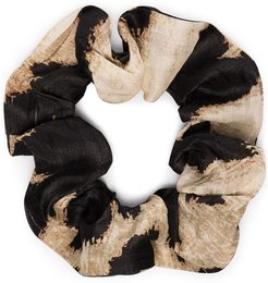 leopard print scrunchie - Black