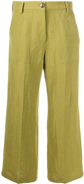 wide leg cropped trousers - Green