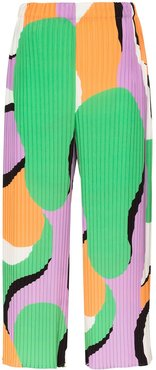 printed pleated cropped trousers - PURPLE