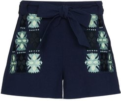 Leah embroidered tie-waist shorts - Blue