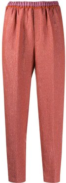 cropped straight leg trousers - Red