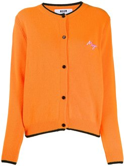 logo embroidered cardigan - ORANGE