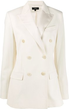 fitted double-breasted blazer - White