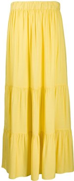 gathered tier maxi skirt - Yellow