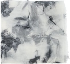 cashmere abstract print scarf - White