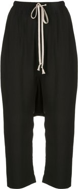 drawstring drop-crotch trousers - Black