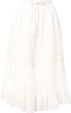 Callie pleated midi skirt - White