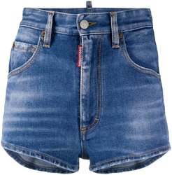 woven back denim shorts - Blue