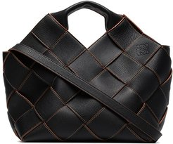 woven leather basket tote - Black