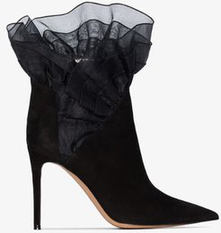 black polly 100 ruffle suede ankle boots