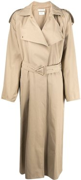 belted oversized trench coat - NEUTRALS