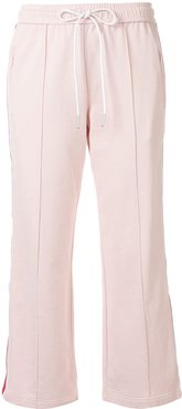 flared cropped track trousers - PINK