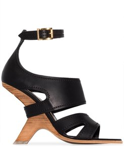 No.13 105 wedge leather sandals - Black