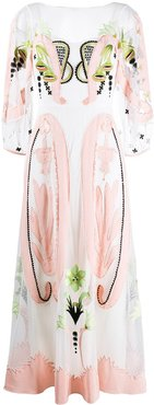 embroidered detail dress - White