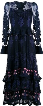 embroidered layered dress - Blue