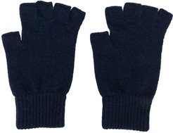 fingerless cashmere gloves - Blue