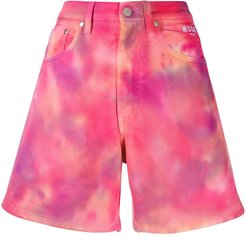 tie-dye denim shorts - PINK