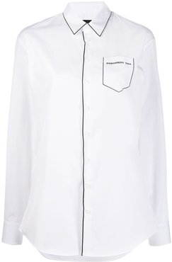 contrast piping blouse - White