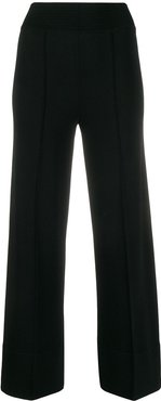 front pleated turn-up cuff trousers - Black