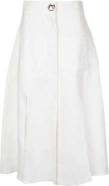 button-up midi skirt - White