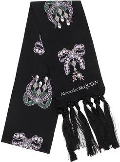 crystal bows print scarf - Black
