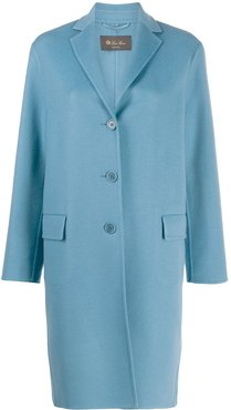 cashmere single-breasted coat - Blue