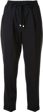 drawstring waist cropped trousers - Blue