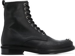 lace up leather boots - Black