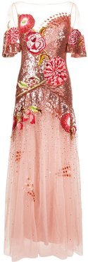 floral-embroidered sequin tulle gown - PINK