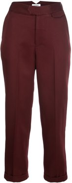 cropped tapered-leg trousers - PURPLE