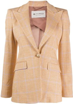 check fitted blazer - ORANGE