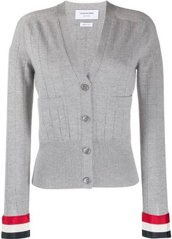open stitch wool cardigan - Grey