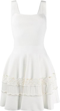 ribbed detail flared dress - White