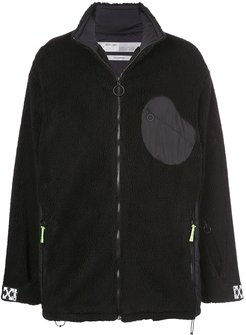 fluffy funnel neck jacket - Black