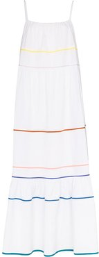 Zoelle stripe-trim maxi dress - White