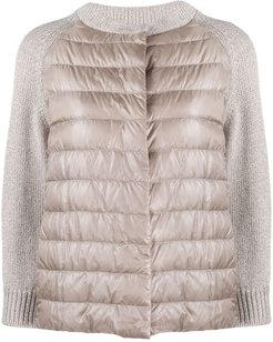knit-panel quilted-down jacket - NEUTRALS