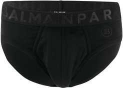 logo embroidered briefs - Black