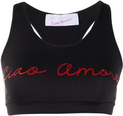 'Ciao Amore' print sports bra - Black