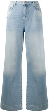 distressed wide-leg jeans - Blue