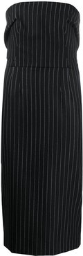 pinstriped strapless fitted dress - Black