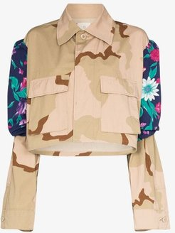 floral camouflage cropped jacket