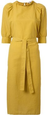 belted day dress - Yellow