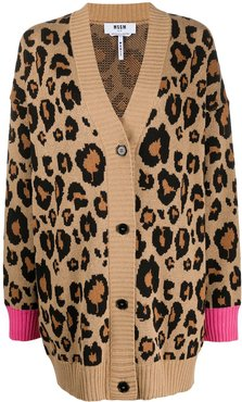 leopard print cardigan - Brown