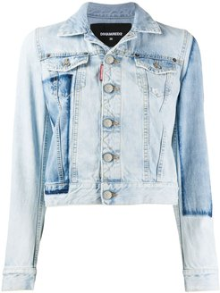 patch cropped denim jacket - Blue