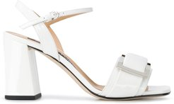 buckled 85mm heeled sandals - White